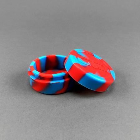 Silikon Behälter für Oel rot-blau