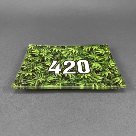 Glass Rolling Tray '420 Green'