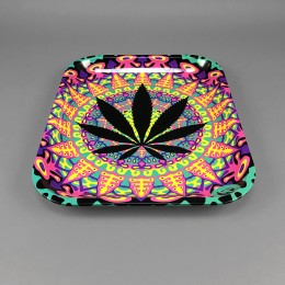 Rolling Tray 'Neon Leaves' large