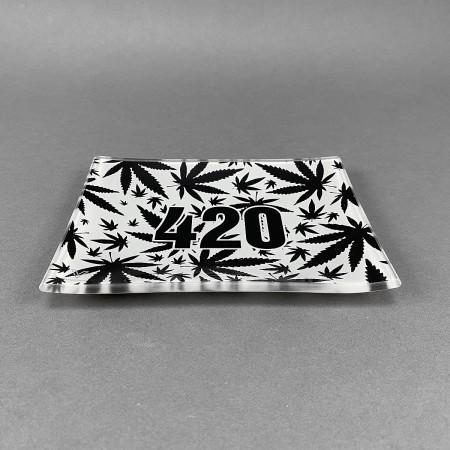 Glass Rolling Tray '420 Black'