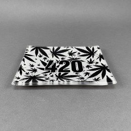 Glass Rolling Tray '420 Black'