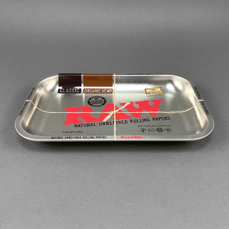 RAW Metallic Silver Rolling Tray